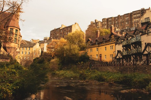 Houses along Water of Leith in Dean Village