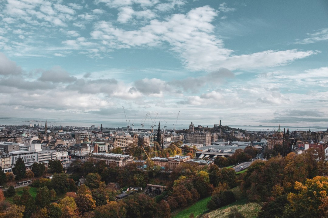 View over Edinburgh from Edinburgh Castle on a cloudy day