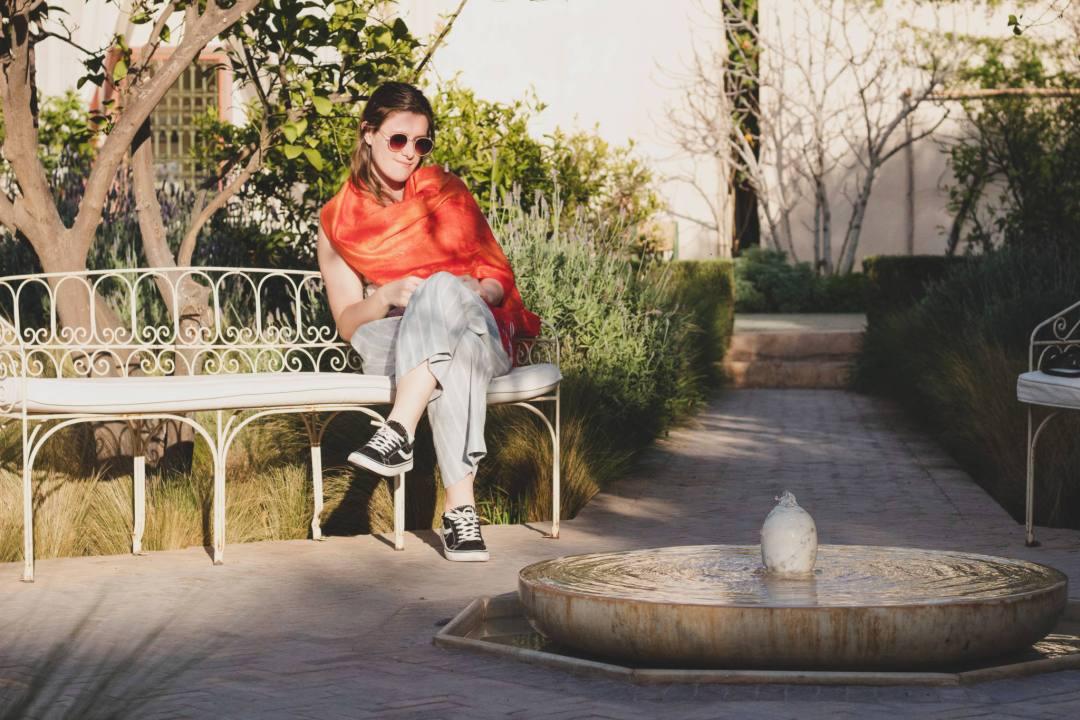 sitting in le jardin secret Marrakech