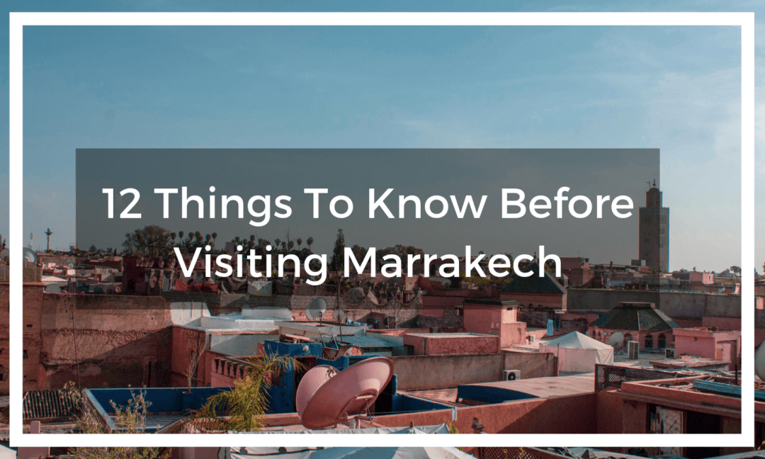 Rooftop views over Marrakech with title text overlay
