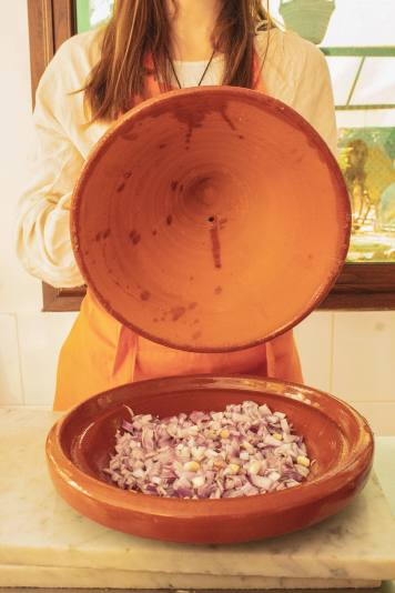 inside a traditional clay tagine pot