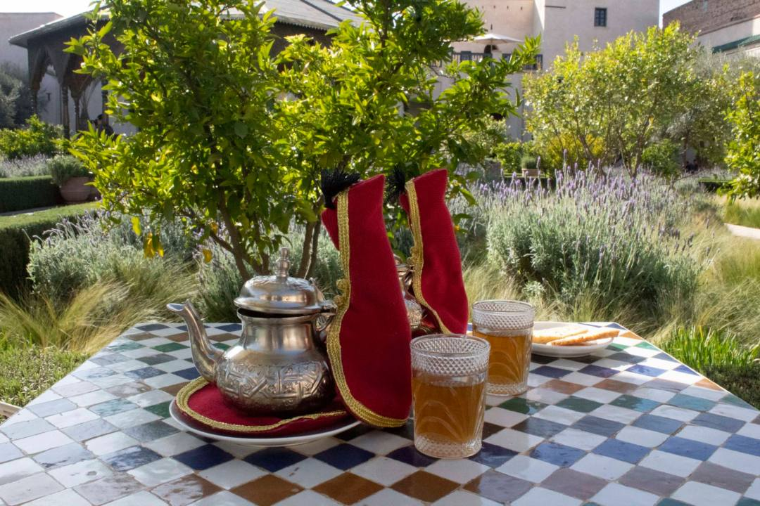 moroccan mint tea pots and glasses in traditional style