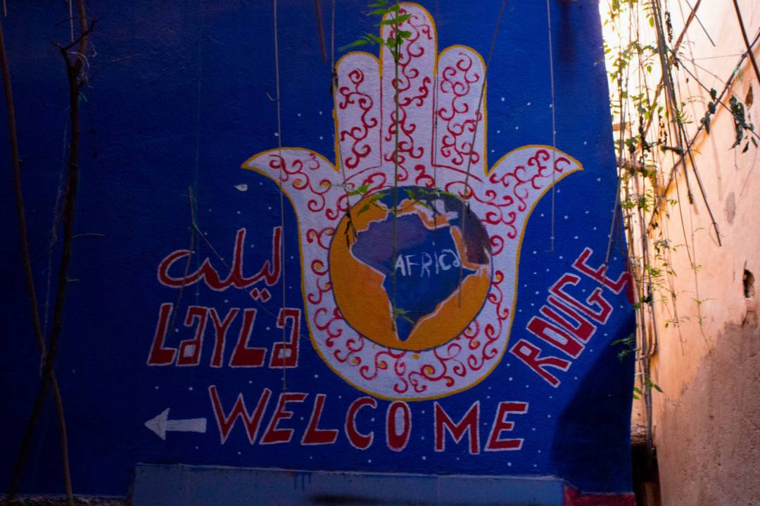 entrance sign for riad layla rouge in marrakech