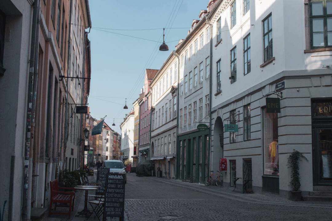 Empty street with traditional buildings in Copenhagen