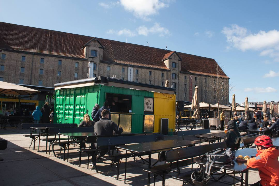 food stalls and benches in Copenhagen