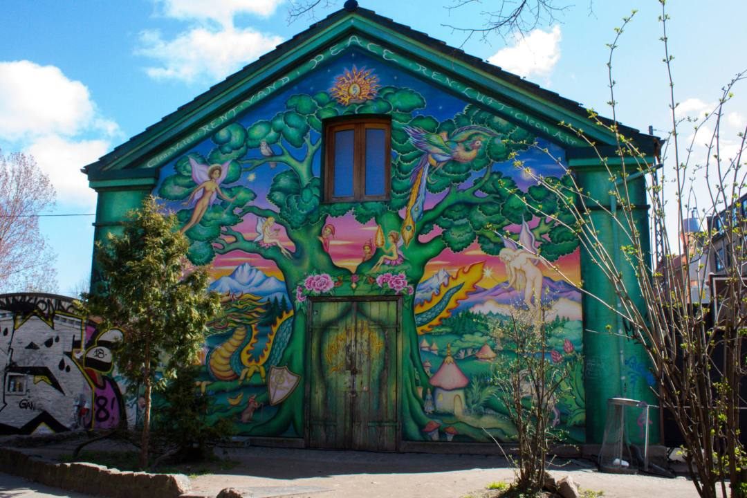 mural of tree and nature in Freetown Christiania Copenhagen