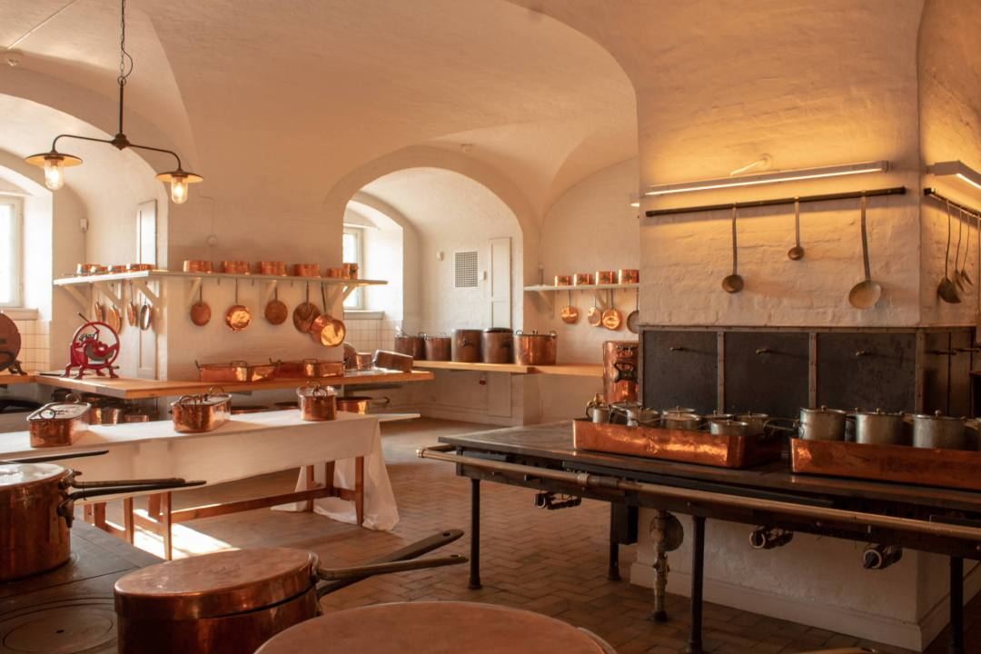 pots and pans inside Royal Kitchen Copenhagen