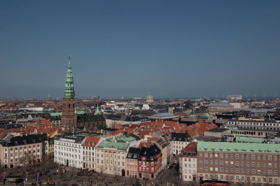 Aerial view over Copenhagen from tower