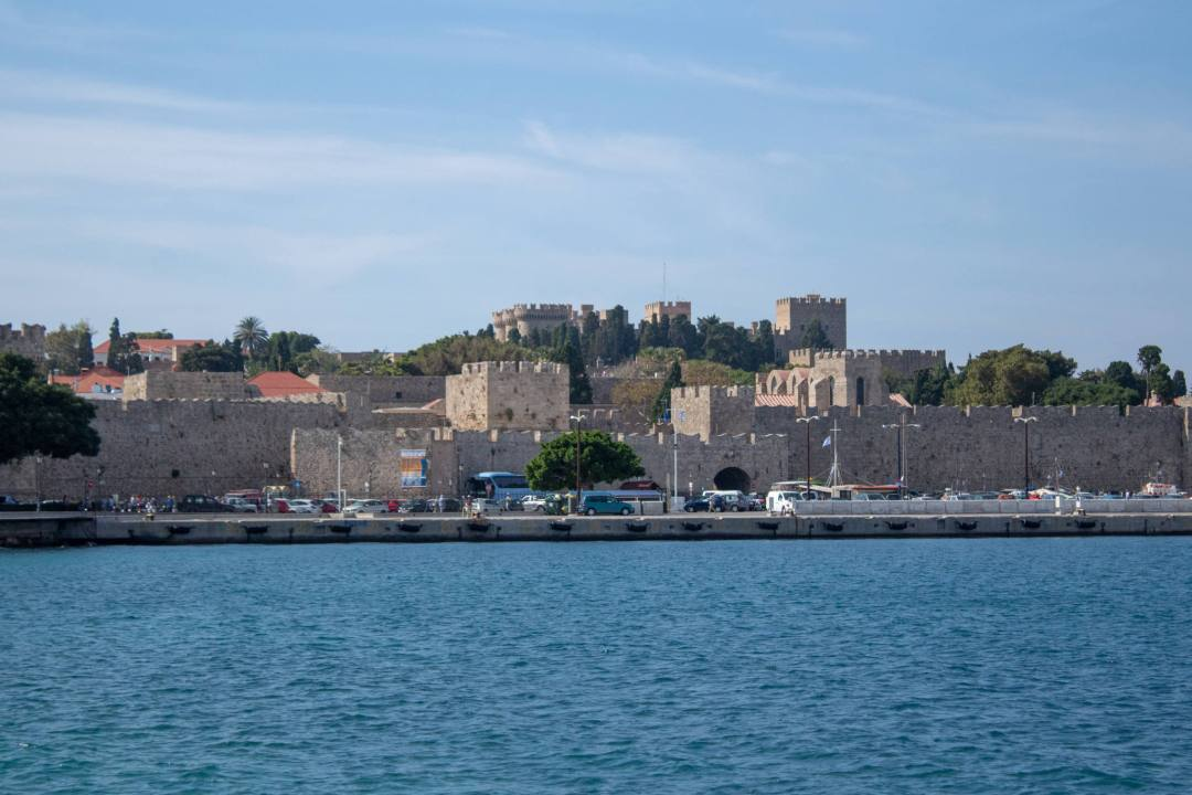 view of Rhodes Old Town from across the water