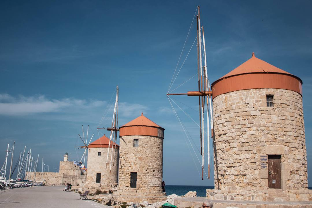 3 medieval windmills in Rhodes harbour