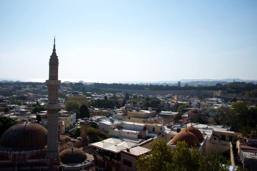 View over Rhodes rooftops in summer