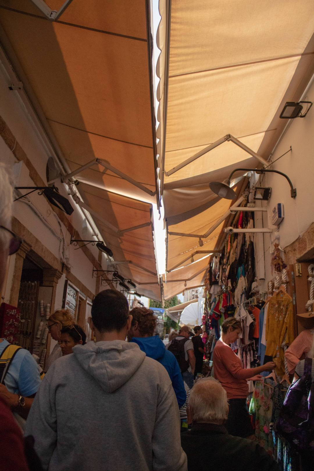Crowded streets in market of Rhodes