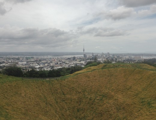 City view of Auckland from volcano summit