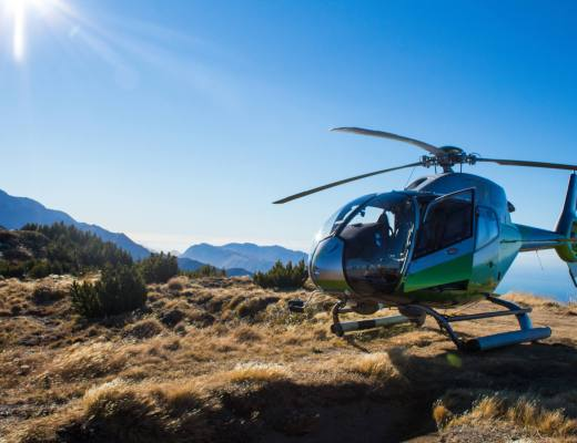 helicopter landed on mountain top
