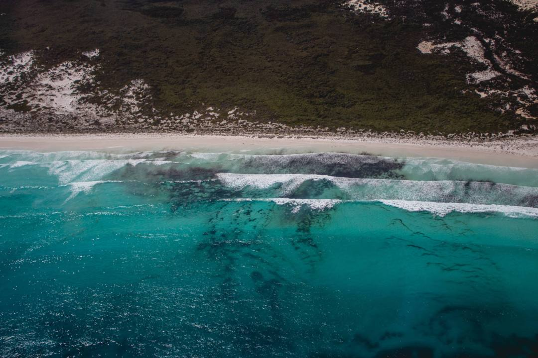 beach from scenic flight in Esperance