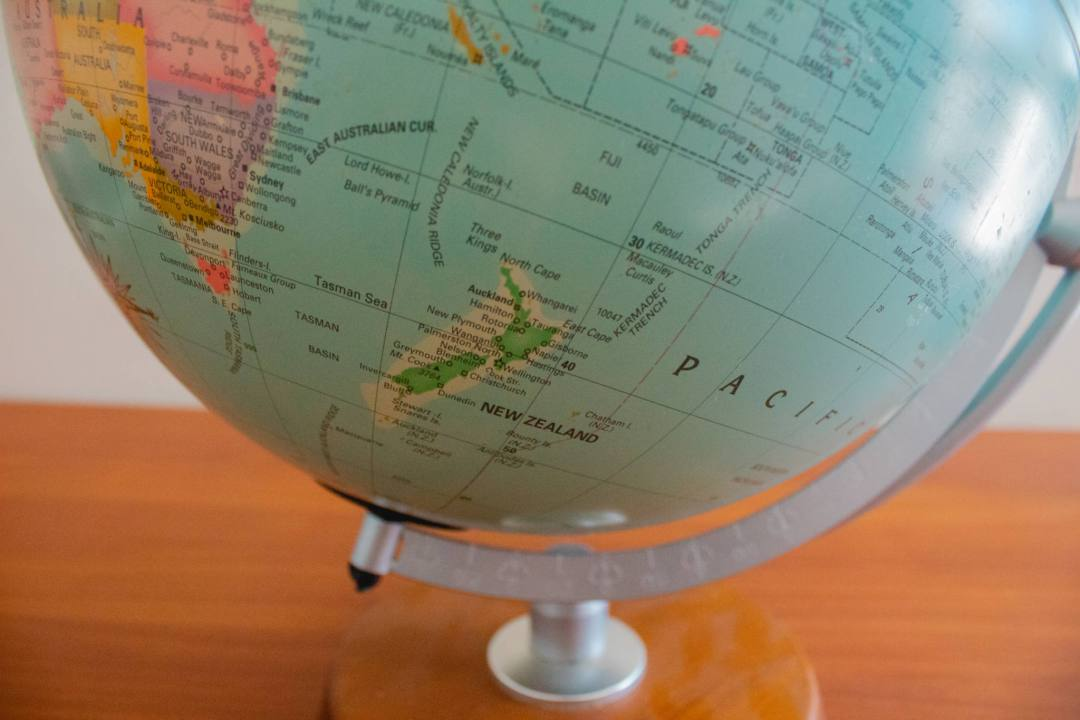 bottom of globe with new zealand
