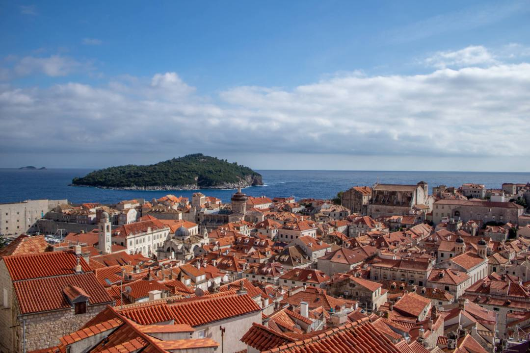 view over dubrovnik old town and lokrum island
