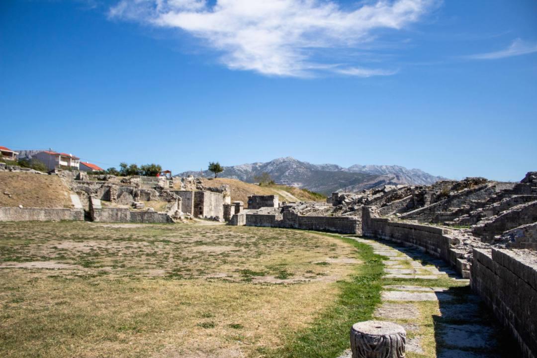 Salona amphitheatre and mountains