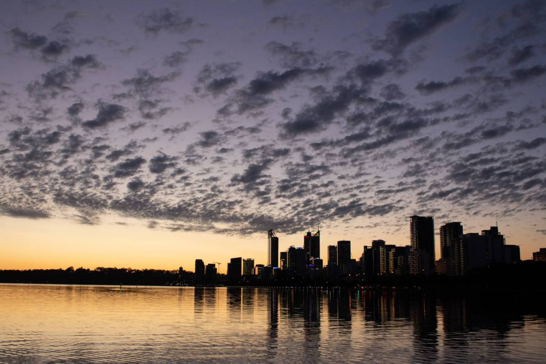 sunset over swan river facing perth city