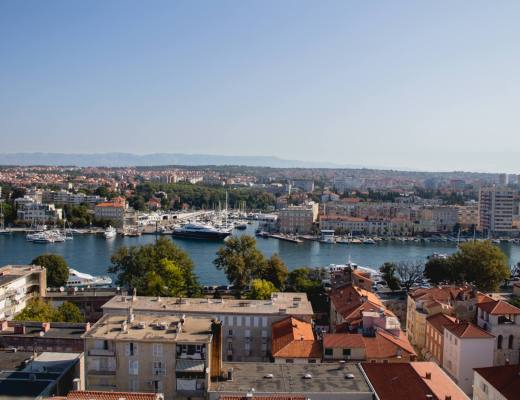 view over zadar town and port