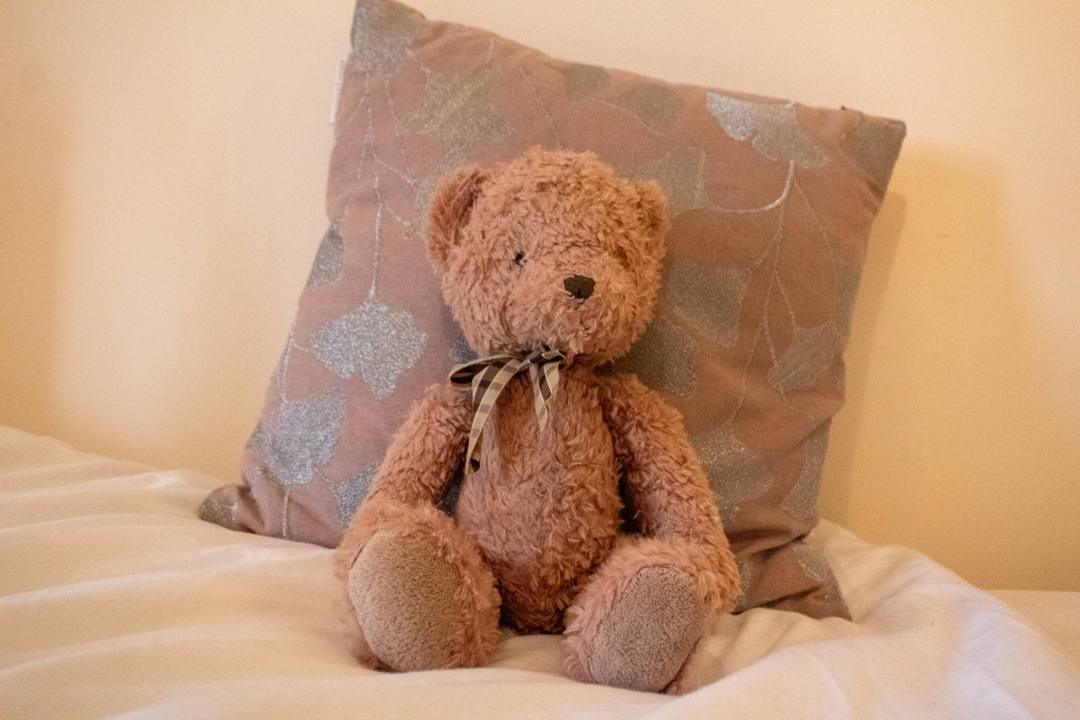 teddy bear sits on bed