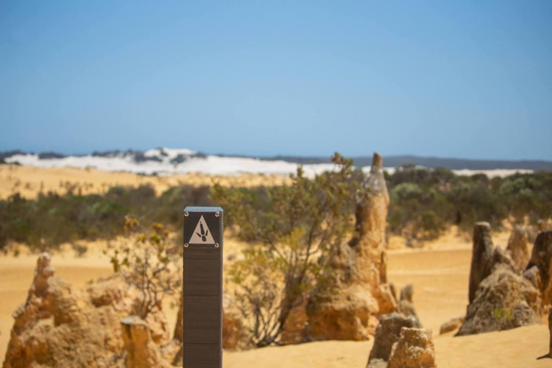 footpath sign post in the pinnacles desert
