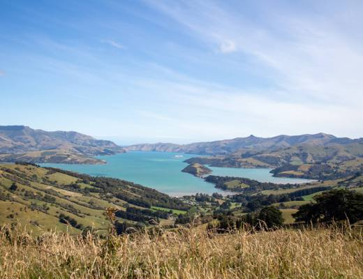 Views over Banks Peninsula from a field