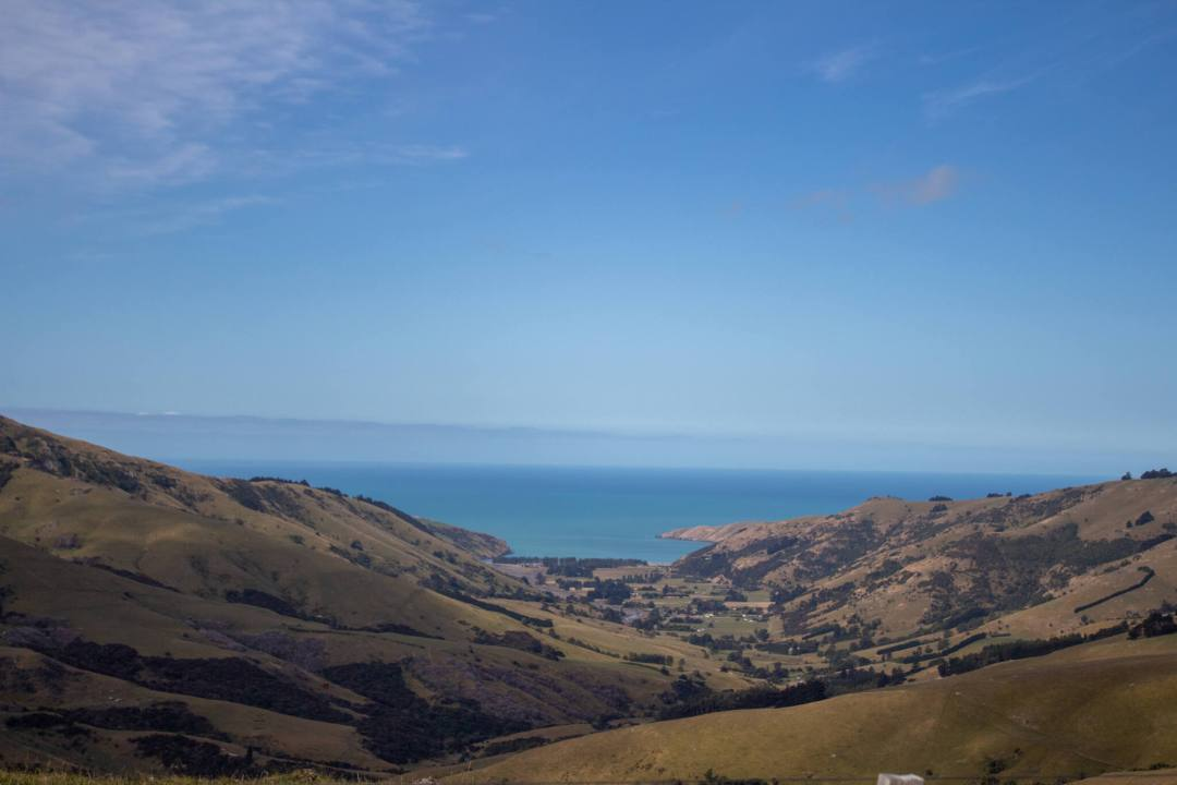 View over Okains Bay in Banks Peninsula on a sunny day