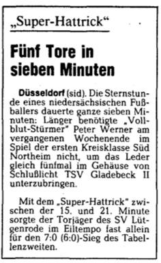 Thorsten Dowe - Super-Hattrick 17.11.1987