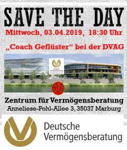COACH GEFLÜSTER mit der DVAG @ Zentrum für Vermögensberatung Anneliese-Pohl-Allee 3, 35037 Marburg