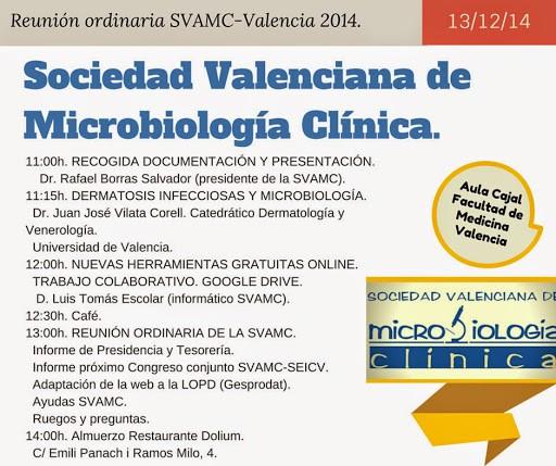 Reunión ordinaria SVAMC Valencia 2014. Sociedad Valenciana de Microbiología Clínica.