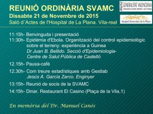 Reunión ordinaria SVAMC Valencia 2015. Sociedad Valenciana de Microbiología Clínica.