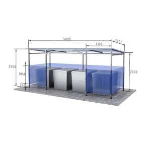 контейнерная площадка для четырех мусорных баков Сварка Люкс