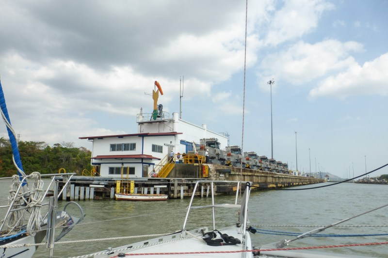 We entered the locks at Miraflores to the sight of the Mules all lined up on our left. We were again in the West locks.