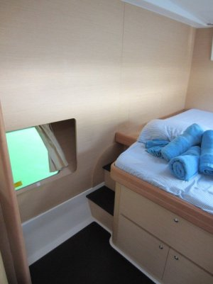 Owner's bed with window