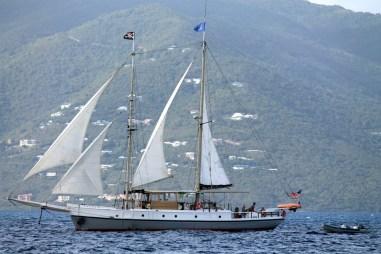 A beautiful old sloop sailing in North Sound Virgin Gorda (courtesy of www.fraserrustics.com)