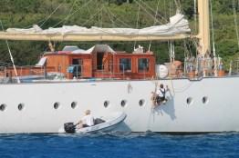 A little maintenance on a unique boat in Trellis Bay (courtesy of www.fraserrustics.com)