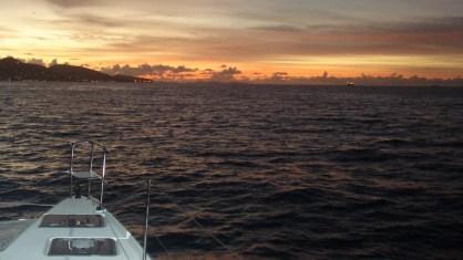 Sunrise as we arrive in St Maarten
