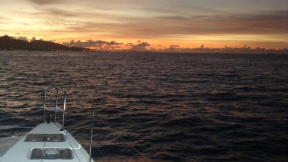 Sunrise as we arrive in St Maarten