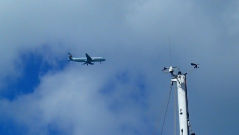 Joe and Laurie's flight arrival as it passed overhead in Antigua