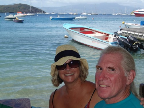 Paul and Gwyn at the restaurant in Bourg des Saintes