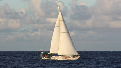 Our buddy boat, Alberio, at dusk sailing with us to St Barth from BVI
