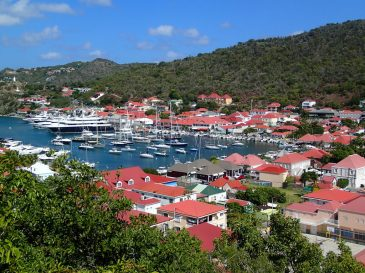 Gustavia inner harbor (crowded!) as seen from Fort Carl. Love the red roofs