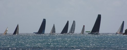 There are a variety of boats in the race