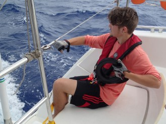 Titan bringing in the Mahi Mahi - great hand technique - and now we have him wired to the boat solid.