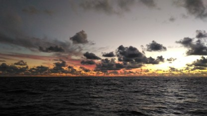 Typical normal sunset at sea