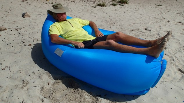 Paul enjoying the now inflated beach toy