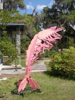 shrimp sculpture at Old Jail Art Center