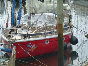 S/V Guppy, Laura Dekker's sailboat she used to solo circumnavigate the world starting at age 14 and completed at 16. The youngest ever. She keeps it here in Town Basin, Whangarei about 200 feet from our boat. She has a book out she wrote, 'One Girl One Dream'.