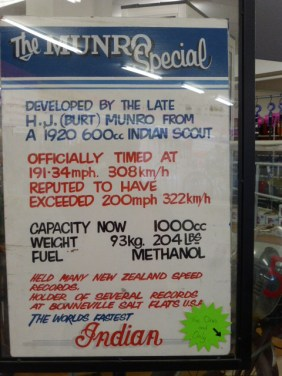 Sign inside store near record speed bike.